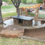 Flagstone Sitting Area with Dinner Table 19