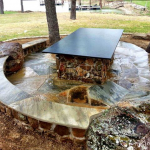 Flagstone Sitting Area with Dinner Table 24