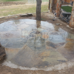 Flagstone Sitting Area with Dinner Table 9