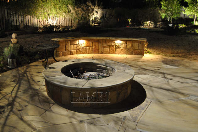 Stones Firepit at Night 630x